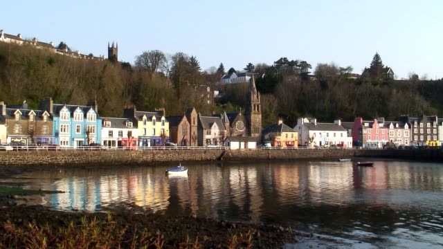 The colorful houses of Tobermory line the Sound of Mull on the Scottish Isle of Mull.