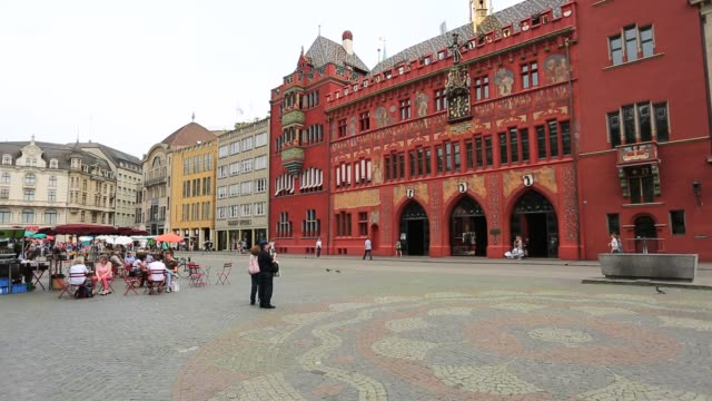 The colorful Rathaus building (town hall) Marketplaz, city of Basel, Canton Basel Stadt, Switzerland, Europe.