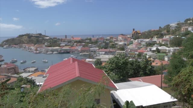 the colourful carenage from elevated position, st. george's, grenada, windward islands, west indies, caribbean, central america - st. george's grenada stock videos and b-roll footage