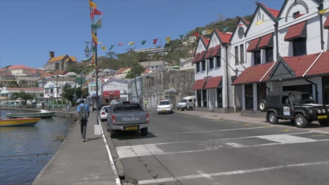 the colourful carenage, st. george's, grenada, windward islands, west indies, caribbean, central america - モーターボート点の映像素材/bロール