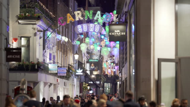 the colourful carnaby street christmas lights - christmas decoration stock videos & royalty-free footage