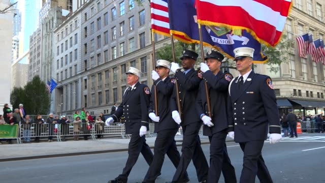 the columbia association fire department of the city of new york march during the columbus day parade on 5th avenue midtown manhattan new york city... - fire department of the city of new york stock-videos und b-roll-filmmaterial