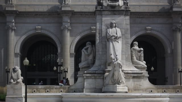 the columbus fountain, a tribute to the explorer christopher columbus, stands in front of the union station in washington, dc, us, on wednesday, aug... - christopher columbus explorer stock videos & royalty-free footage