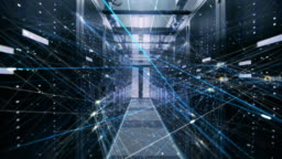 The Concept of: Digitalization of Information Stream Moving Through Rack Servers in Data Center. Web, Net, Threads of Interconnected Bits of Data Moving.