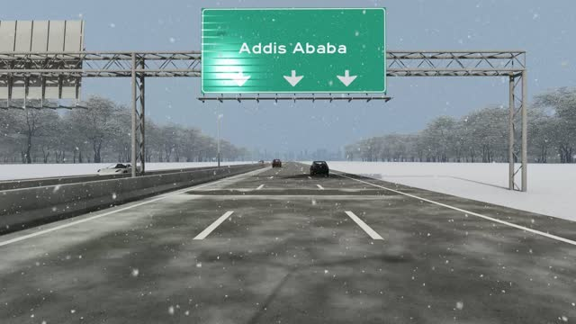 the concept of entrance to addis ababa city, signboard on the highway stock video - horn of africa stock videos & royalty-free footage