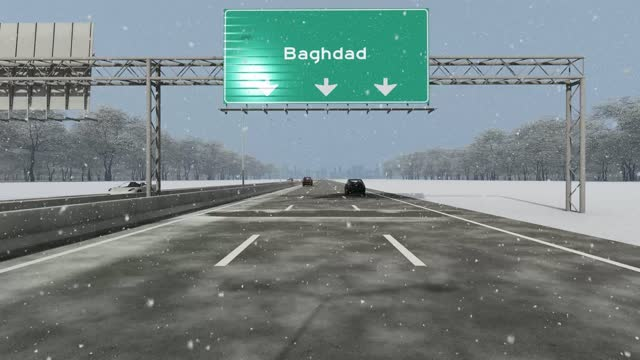 the concept of entrance to baghdad city, signboard on the highway stock video - baghdad stock videos & royalty-free footage