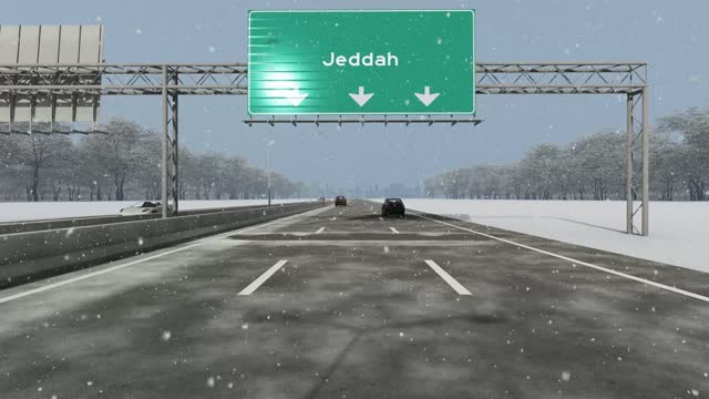 the concept of entrance to jeddah city, signboard on the highway stock video - jiddah stock videos & royalty-free footage