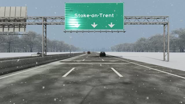 the concept of entrance to stoke-on-trent city, signboard on the highway stock video - staffordshire england stock videos & royalty-free footage