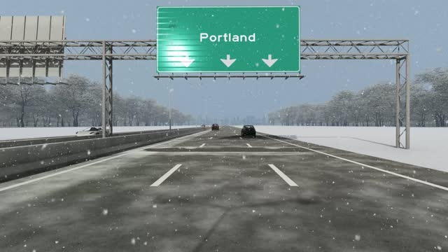 the concept of entrance to usa city, portland, signboard on the highway stock video indicating - portland oregon stock videos & royalty-free footage
