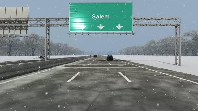 米国の都市、セーラムへの入り口の概念は、示す高速道路のストックビデオの看板 - セーラム点の映像素材/bロール