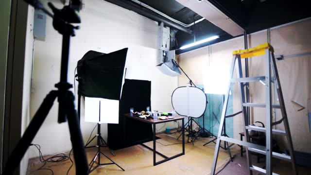 The concept of the food production studio with lighting equipment.