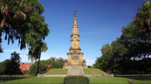 the confederate monument at forsyth park in savannah, georgia is a memorial to local civil war soldiers built in 1874 - monument stock videos & royalty-free footage