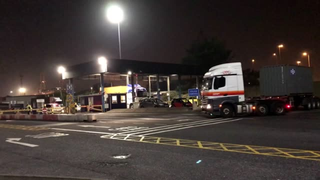 the container lorry where 39 people were found dead is heading towards tilbury docks under police escort. early indications suggest there 38 are... - port said stock videos & royalty-free footage