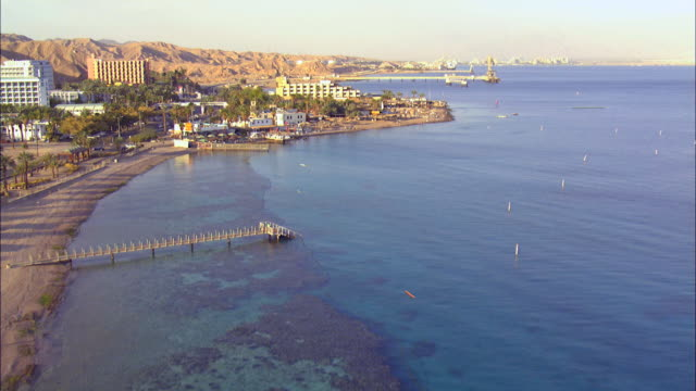 aerial the coral reef in the red sea ,eilat, israel - red sea stock videos & royalty-free footage