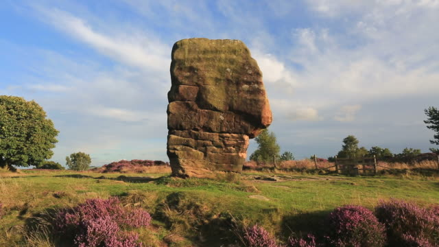 the cork stone on stanton moor, peak district national park, derbyshire, england, uk - outcrop stock videos and b-roll footage