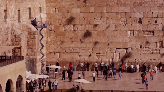 vidéos et rushes de the corner of the western wall in jerusalem - unesco