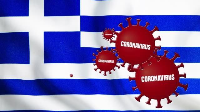 the coronavirus outbreak covers the flag of greece - greek flag stock videos & royalty-free footage