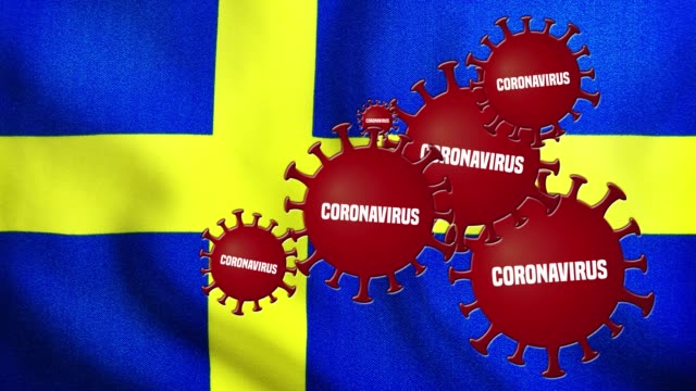 the coronavirus outbreak covers the flag of sweden - swedish culture stock videos & royalty-free footage