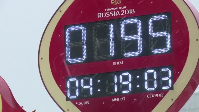 vídeos de stock, filmes e b-roll de the countdown begins before the draw for the 2018 world cup finals in russia which will be held in a glitzy ceremony within the kremlin in moscow on... - 2018