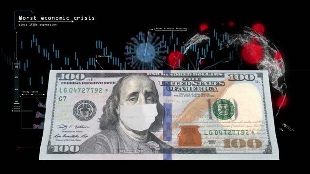vídeos de stock e filmes b-roll de the covid-19 recession, global economic crisis, great depression, benjamin franklin on $100 bill upset, covid-19 pandemic, the collapse of markets, 4k stock video, stock market crash, - benjamin franklin