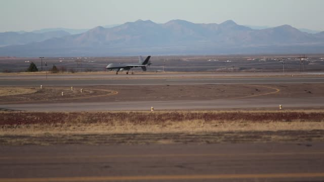 The CPB unmanned Predator drone takes off for a patrol searching for drug smugglers and immigrants crossing from Mexico into the United States US Air...