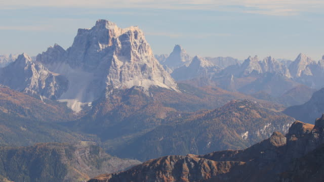 the craggy mountains of the dolomites in northern italy above passo pordoi. - wilderness stock videos & royalty-free footage