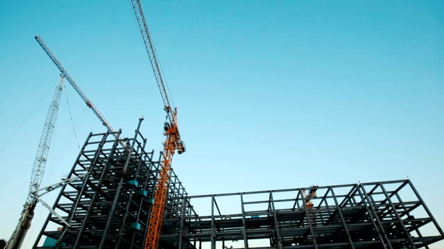 the crane in construction site - building activity stock videos & royalty-free footage