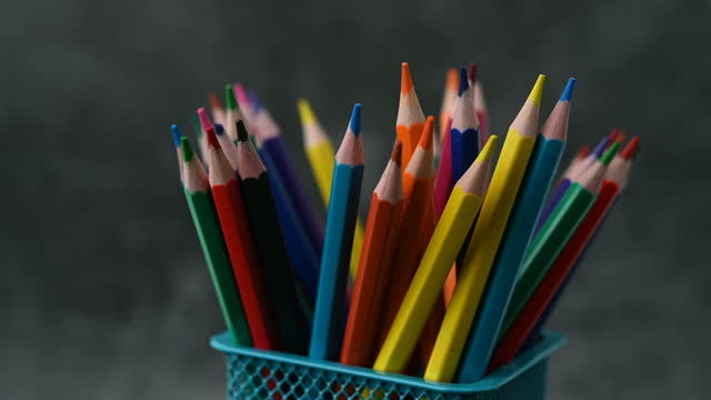 the crayons are spinning slowly, slowly. - stationary stock videos & royalty-free footage