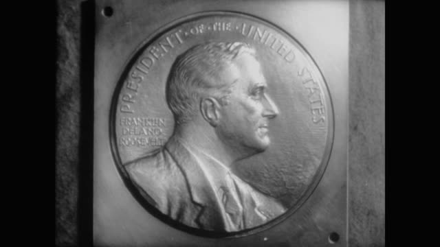 1940 the creation of the fdr dime - präsident der usa stock-videos und b-roll-filmmaterial