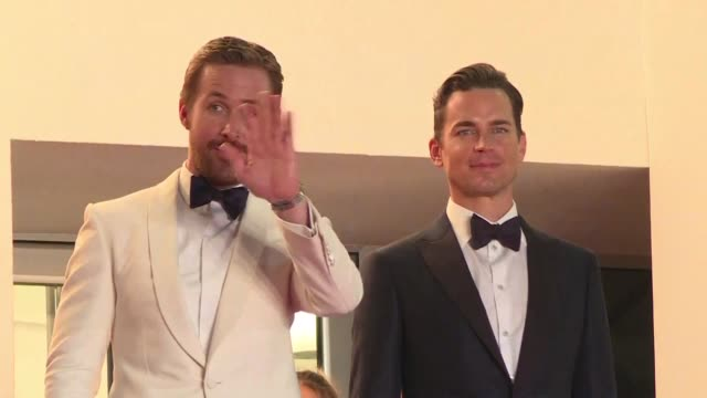 stockvideo's en b-roll-footage met the crew of shane blacks film the nice guys presented out of the competition at the cannes film festival walks the red carpet with among others ryan... - russell crowe
