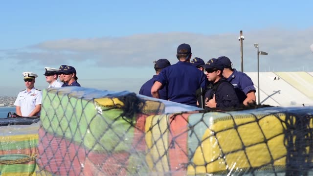 the crew of the coast guard cutter stratton offload 47000 pounds of cocaine with a value of more than $721 million in san diego jan 25 2018 the... - crew stock videos & royalty-free footage