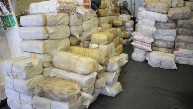 san diego — the crew of us coast guard cutter stratton offloads an estimated 12000 pounds of seized marijuana in san diego aug 1 2014 the stratton... - 密輸点の映像素材/bロール