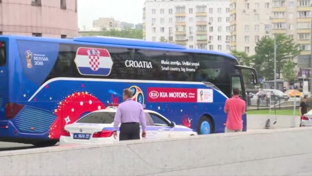 the croatia team head to moscow's luzhniki stadium for their world cup final showdown against france - luzhniki stadium stock videos & royalty-free footage