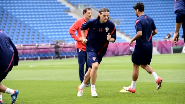 the croatian team train at the municipal stadium in poznan on the eve of their group c match, italy vs croatia during the euro 2012 football... - 2012 stock videos & royalty-free footage