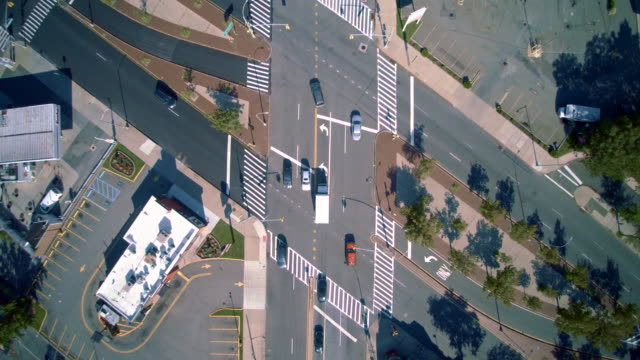 The crossroad at the Hillside Avenue and Spriengvild Bulevard. Directly above view. Aerial footage of the Queens Village residential area, New York City, USA.