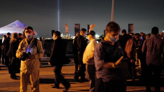 the crowd disperses at the conclusion of a 9/11 community vigil at the american veterans memorial pier on september 11, 2020 in bay ridge, brooklyn,... - memorial stock videos & royalty-free footage