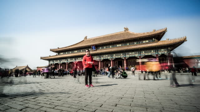 The crowded visitors wandering in the Forbidden City, Beijing, China