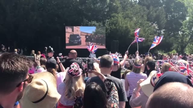 the crowds on the long walk in windsor cheer as prince harry arrives for his wedding to meghan markle - prince harry stock videos and b-roll footage