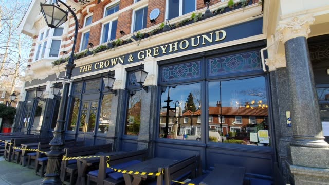the crown and greyhound pub is closed during the coronavirus pandemic on march 23 2020 in dulwich village london england - brian dayle coronavirus stock videos & royalty-free footage