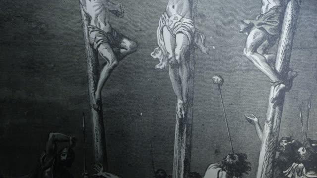 the crucifixion of jesus christ new testament old etching tracking illustration - new testament stock videos & royalty-free footage