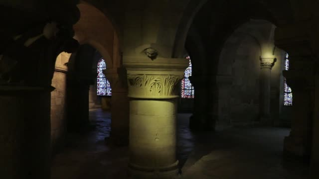 the crypt at the basilica of saint-denis in the outskirts of paris on july 5, 2020 in saint denis, france. the church houses the remains of several... - crypt stock videos & royalty-free footage