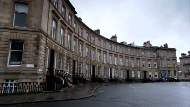 The curve of the Park Circus tenements in Glasgow, Scotland. Available in HD.