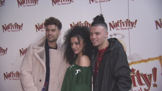 The Cutkelvins at 'Nativity The Musical' London premiere at Eventim Apollo Hammersmith on December 14 2017 in London England