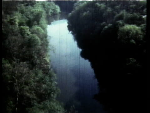 1966 aerial the cuyahoga river flowing / ohio, united states - fiume cuyahoga video stock e b–roll