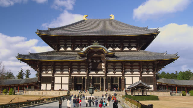 ws the daibutsu-den hall of the todai-ji temple in nara / nara, kansai, japan - 寺院点の映像素材/bロール