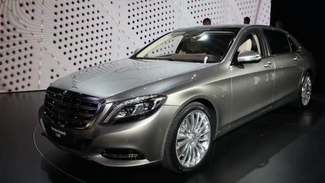 the daimler ag mercedesbenz logo is see on the maybach s600 vehicle during the los angeles auto show in los angeles california us close up shots of... - mercedes benz stock videos & royalty-free footage