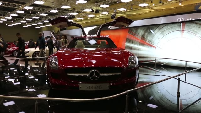 the daimler ag mercedesbenz sls amg vehicle stands on display during the press day of the seoul motor show in goyang the seoul motor show 2013 on... - goyang stock videos and b-roll footage