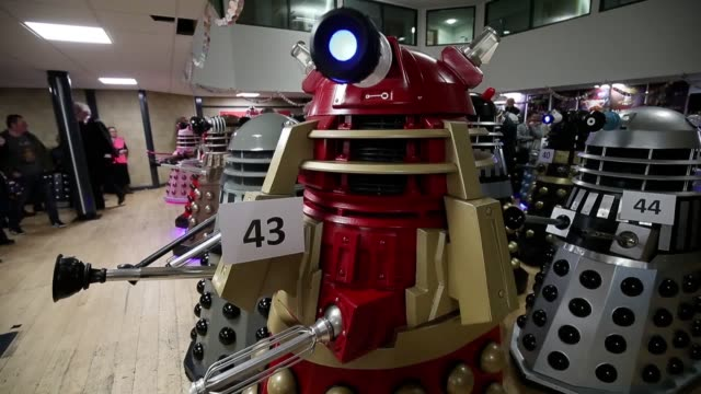 the dalek world record attempt takes place at the olympiad sports centre in chippenham. the effort fell short of the target of 96 assembled dalek,... - doctor who stock videos & royalty-free footage