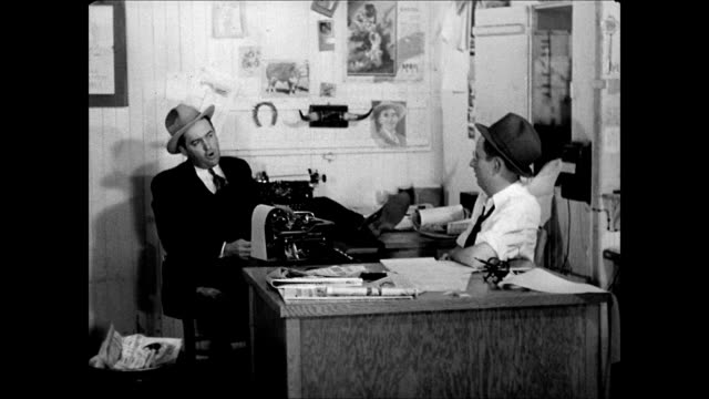 hd ws 'the dalhart texan' newspaper office publisher john l mccarty talking w/ his reporter in office sot saying farmers in trouble need help wants... - 1937 stock videos and b-roll footage