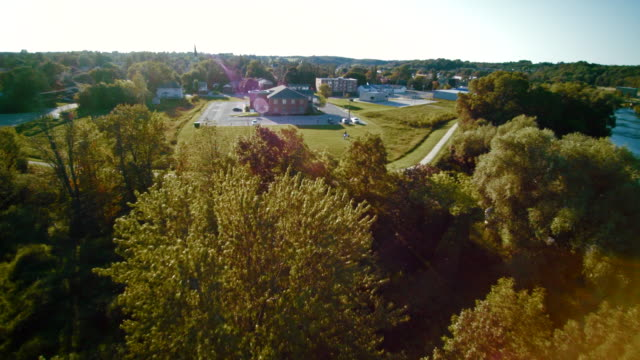 The dam on the Saugeen River near by Walkerton, Brockton, Bruce County, Ontario, Canada. Aerial drone 4K footage